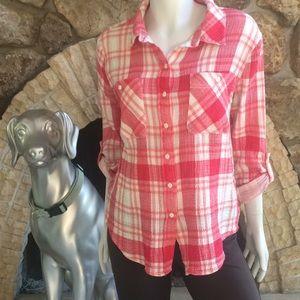 Sanctuary Tomboy Shirt Plaid Crinkle Cotton